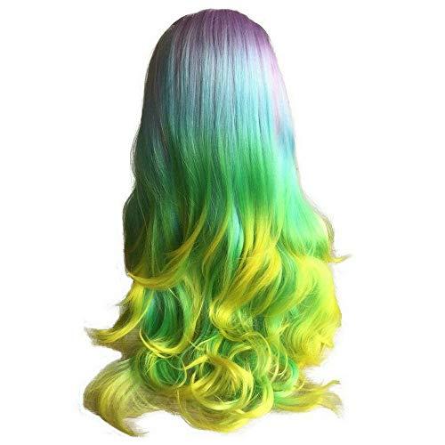 Pelucas de color arcoíris, pelucas de pelo sintético ondulado, color morado, azul, verde, amarillo, para mujeres blancas, parte libre de cosplay, vacaciones, fiestas