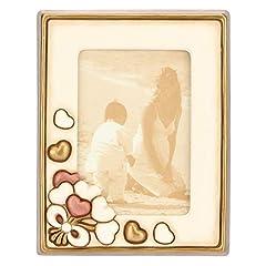 Idea Regalo - THUN ® - Cornice Portafoto Rettangolare da Tavolo Medio - Formato 10 x 15 cm - Decorazione Cuori - Color avoriocolor Avorio - Ceramica