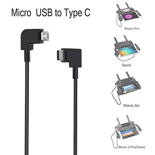 Olize Micro USB zu Type C Video Daten OTG Kabel, Reverse Connector für DJI Mavic Pro / Spark / Mavic Air Fernbedienung für Android Handy und Tablets