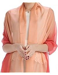 LadyMYP 180cm*70cm stillvoll schlicht leicht Stola Seidenschal Schal mit kontinuierlichem Farbverlauf aus 100% Seide mehr Farbig