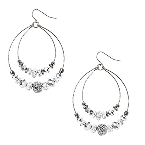 Claire's Girl's Hematite and Silver Caviar Beaded Double Hoop Earrings in Silver