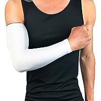 Ruiting Manga del brazo de protección UV, manguito del brazo elástico y transpirable, Protección del brazo para ciclismo, baloncesto, fútbol, acampar, etc.-Blanco, XXL