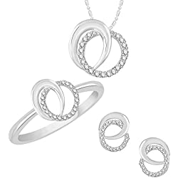 VK Jewels Rhodium Plated Alloy CZ American Diamond Ring & Pendant Set Combo for Women [VKCOMBO1660R14]