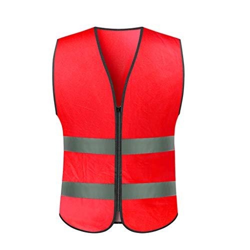 LYL-Safety-Westen Verkehrssicherheitswesten Nacht reflektierende Weste Weste Reiten Sicherheitskleidung Verkehr reflektierende Streifen Kleidung (Color : Red)