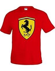 Camiseta roja Logo Ferrari customizada(Talla: Talla M Unisex Ancho/Largo [53cm/72cm] Aprox])