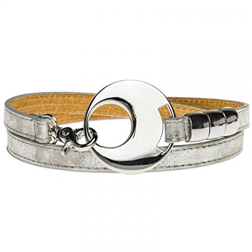 CASPAR GU277 Damen Leder Gürtel, Länge:105;Farbe:Silber-Silberschnalle