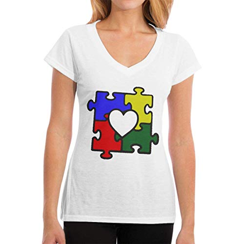 HRTSHRTE Women's Autism Heart Puzzle Autism Awareness Short Sleeve T-Shirt Classic V-Neck Tee -