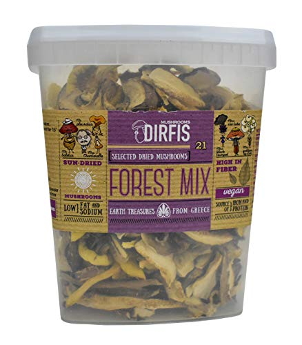 Sun Dried Mixed Forest Mushrooms by Dirfis | Hand Picked Wild Mushrooms from Greek Forests | 80grams
