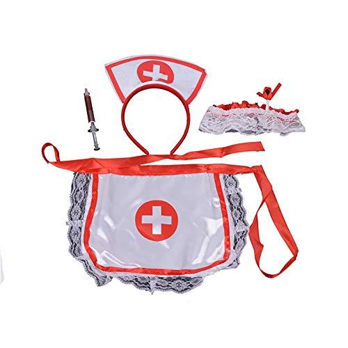Kostüm Gewohnheit - Ouken 1Set Frauen-reizvolle Wäsche-Krankenschwester-Uniform Krankenschwester Anzug Cosplay Uniform Versuchung Rollenspiele Gewohnheit für Halloween-Party