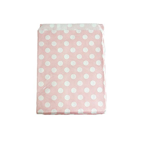 Yalulu 50 Stück Süßigkeiten Papiertüten Party Beutel Süßes Geschenk Taschen Tüten für Geburtstag, Hochzeit, Baby- Dusche, Feier Parteien (Rosa)