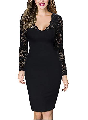 MIUSOL Damen Damen Kleid V-Ausschnitt Langaermel Celebrity Party Mini Cocktailkleid Schwarz L