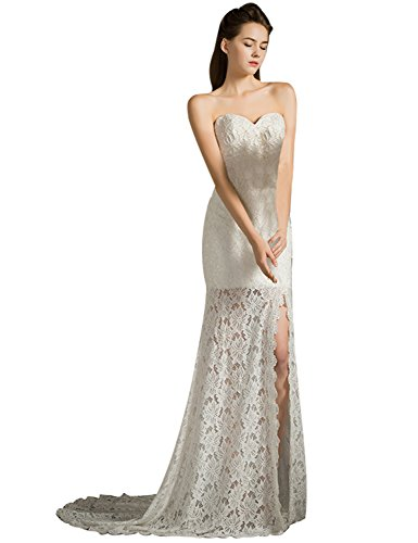 Fanciest Damen Sweetheart Split Sheer Spitzen Brautkleider for Bride 2016 White UK22W