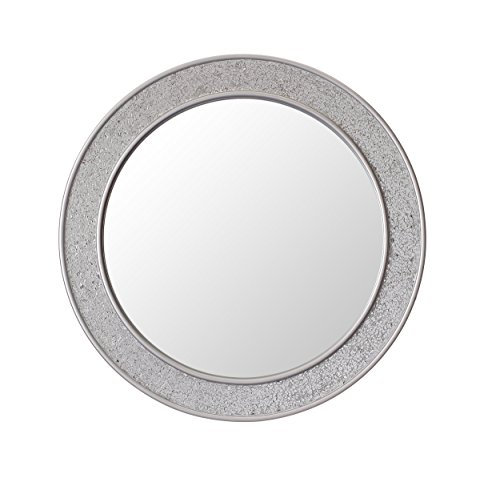 Inner Reflection by Casa Chic Round Mosaic Wall Silver Mirror - Large - 60 cm diameter - Bathroom Lounge Hallway