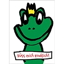 Freche Froschkönig Karte für Romantiker: Küss mich endlich auch als Valentinskarte schön • auch zum direkt Versenden mit ihrem persönlichen Text als Einleger.