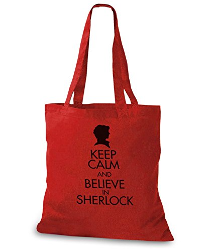 StyloBags Jutebeutel / Tasche Keep Calm and Believe in Sherlock Rot