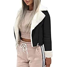 a618463884f86 Femmes Dames Manteau Court Zipper Outwear Mode Revers Faux Agneau en Laine  Moto Manteau De Moto