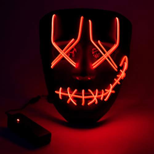 Wuudi LED Halloween Maske, Leuchtet im Dunkeln Aufhellen Masken Cosplay Kostüm für Halloween Christmas Party (Creepy Clown Kind Kostüm)