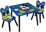 Bleu Mickey Mouse Table avec chaises Cadeau pour garçons   durable Disney enfants Table et Chaise Ensemble de meubles de salle de jeux pour enfant pour les tout-petits (3PC Set)