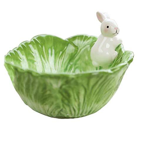lqgpsx Geschirr Schüssel Cartoon Tier Keramik Kreative Lagerung Nette Nette Handgemalte Weiße Kaninchen Obstschale Salatschüssel Kohl Kaninchen Schüssel (Farbe: Grün, größe: 15 * 9,5 * 6,5 cm)