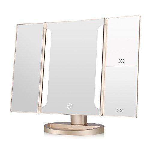 EASEHOLD Miroir Maquillage Miroir Deux Bandes Lumière Triple de Pliable Cosmétique 20 LED Éclairées Grossissement 1X/2X/3X 180°Ajustable avec Bouton Tactile Batterie câble USB - Champagne O