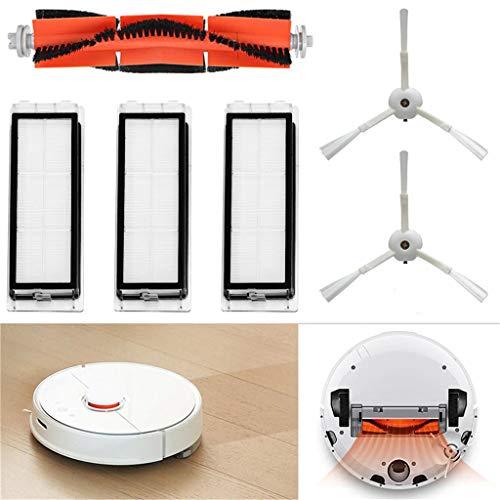 für Xiaomi MI Robot Vacuum Cleaner Roborock Saugroboter Ersatzteile Verschleißteile-Set 6 Teilig Hepa Filter Hauptbürste Seitenbürste Bürsten Set