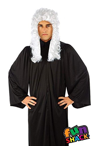 Herren Erwachsene Spaß Shack Richter Robe und Perücke Kostüm Kleidung Eine Größe (Schwarze Richter Robe Kostüm)
