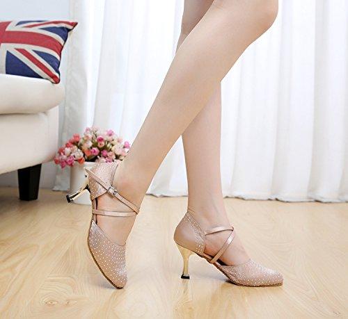 Minitoo QJ705 Femme Moderne Cristal Pailleté Salsa écoles de danse Satin Tango latine chaussures Beige - beige
