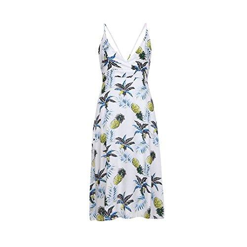 TWBB Sommerkleider Ananas drucken Ärmellos Retro Print Damen Elegante Lang Frauen Festliche Partykleider (Asiatische M, Weiß)
