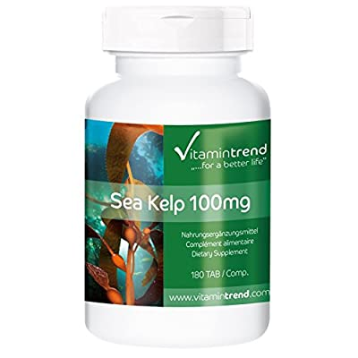 Sea Kelp 100mg/150µg iodine, brown algae from the North Atlantic (France), vegan, natural, without magnesium stearate, 180 tablets, bulk pack for 6 months by Vitamintrend