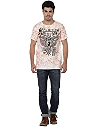 LNDN HOUR Half Sleeves New DIVINE Stylish Spray Chest Print, Round Neck Cotton Tshirt, Latest High Quality Fashion Garments For Mens / Boys. White Colour