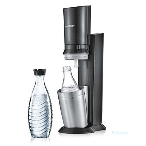 SodaStream CRYSTAL 2.0 Umsteiger Wassersprudler zum Sprudeln von Leitungswasser, mit spülmaschinenfester Glasflasche für Ihr Sprudelwasser! inkl. 1 Glaskaraffe 0,6l OHNE Zylinder; Farbe: Titan/Silber Test