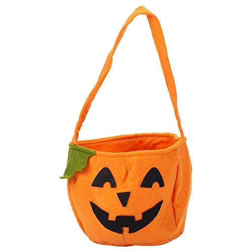 15,2x 14cm Kürbis orange Polyester Filz Halloween Candy Eimer Tasche (Halloween Leicht Kürbis-ideen Für)