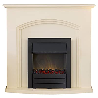 Adam Truro Fireplace Suite in Ivory with Colorado Black Steel Electric Fire,
