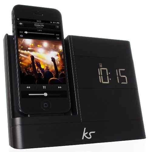 KitSound XDOCK2 Radio Uhr Dockingstation/Ladegerät mit Lightning Anschluss für iPhone 5/5S/5C/SE, iPod Nano 7. Generation and iPod Touch 5. Generation (UK Netzstecker) - Schwarz