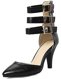9307c4517 SHANGWU Mujeres Tobillo Correa Bombas Cerrado Zapatos de tacón Alto señoras  triples Correas bajo Mediados Bloque