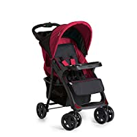 Hauck Shopper Neo II, From Birth to 22Kg, One Hand Fold 4 Wheel Pushchair with raincover, Black/Red