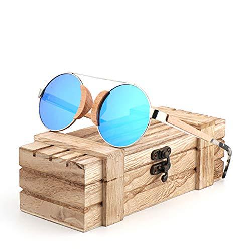 FYrainbow Polarisierte Lichtfahrglasche, Women es Holz-Sonnenbrille Sports Brillen Retro Style Bamboo und Wood Sunglasses TAC-Objektiv UV400,A
