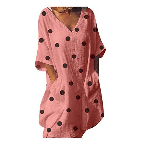 Große Größe Damen Kleider Vintage Polka Dot V-Ausschnitt Sommerkleid Tunika Kurzarm T-Shirt Kleid elegant Festliche Kleider Knielang Blusekleid Cocktailkleid Minikleid Partykleid Rosa Polka-dot Satin