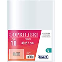 Favorit 400113434 Coprilibri Formato Maxi 36 x 57 Trasparenti, Finitura Liscia, Conf. da 10 pezzi