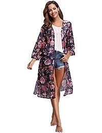 Gilet Kimono Femme Fleuri Pareo Plage Veste Cardigan Fluide Léger Imprimé  Casual Ourlet Manche 3  75133e8781c8