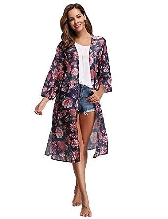 Abollria Damen Kimono Cardigan Chiffon Sommerkleid Floral Print Knielang Beach Cover up Leicht Tuch für die Sommermonate am Strand oder See (S, Dunkelblau)