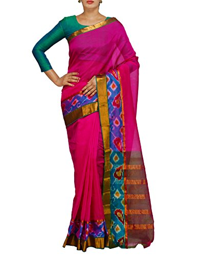 Unnati Silks Women Pink-Green Pure Handloom Pochampally Ikat Silk Saree With Blouse...