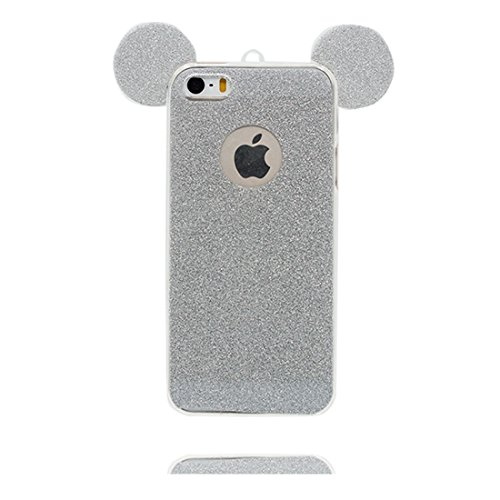 iPhone 5s Custodia, [ TPU Gel trasparente del Diamanti di Bling Bling sottile e leggero ] Copertura iPhone 5 SE 5G Case, Shock Proof [ porpora Cartoon orecchio del mouse] e ring supporto Slivery