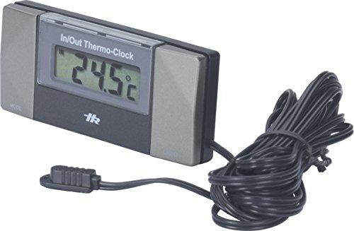 hr-imotion 10110201 Quarz Uhr und Termometer für Innen- und Außentemperatur [ Inkl. Batterien | - 50C - + 70C | 3m Kabel für Außenfühler | Beleuchtung | Glatteiswarnung   selbstklebend]