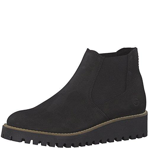 Tamaris Damen Chelsea Boots 25471-21,Frauen Stiefel,Halbstiefel,Stiefelette,Bootie,Schlupfstiefel,hoch,Keilabsatz 4cm,Black,EU 40