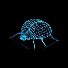 Wmshpeds luz de noche mariquita 3D colorido control remoto táctil LED pequeña lámpara de mesa de regalos de luz visible