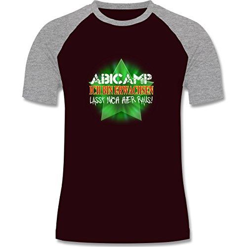 Abi & Abschluss - ABICAMP - ich bin erwachsen lasst mich hier raus! - zweifarbiges Baseballshirt für Männer Burgundrot/Grau meliert