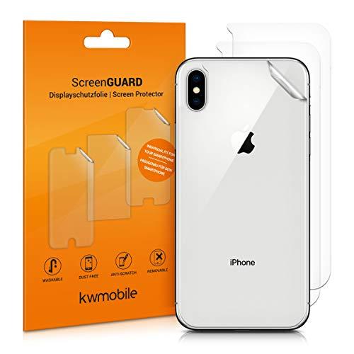 kwmobile 3X Schutzfolie Rückseite für Apple iPhone XS Max