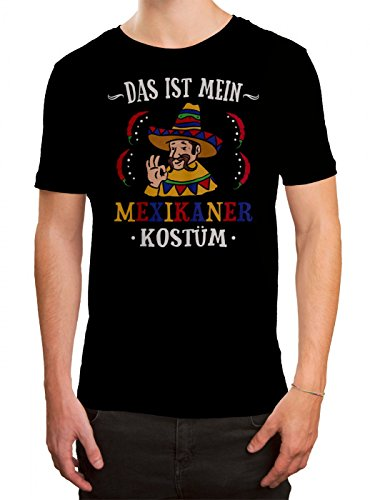 Kostüm Mexikaner Premium T-Shirt Verkleidung Karneval Fasching Herren Shirt, Farbe:Schwarz (Deep Black L190);Größe:5XL