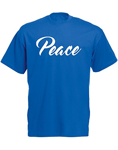 Peace, Mann Gedruckt T-Shirt - Königsblau/Weiß XL = 111-116cm (Buddha Peace T-shirt Top)